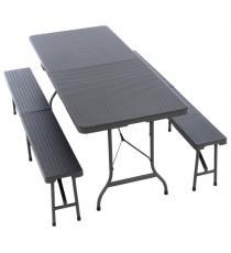 Zahradní set, 2 lavice a stůl v ratanovém designu - antracit