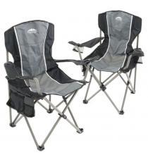 Sada 2 ks skládacích židlí - šedá/černá