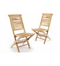 Sada 2 ks  zahradní židle skládací DIVERO &quot Hantown&quot  z masivního týkového dřeva
