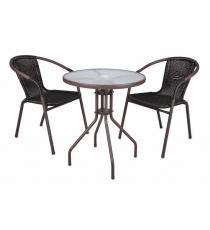 Bistro stolek se skleněnou deskou a 2 židle z polyratanu  Garth
