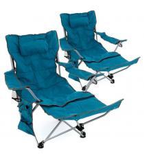 Sada 2 ks kempingových židlí s odnímatelná podnožkou, modrá