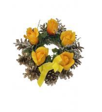 Podzimní věnec se šiškami - žlutý 12 x 26 cm