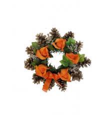 Podzimní věnec se šiškami - oranžový 12 x 26 cm