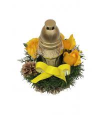 Věnec se svíčkou na dušičky - žlutá