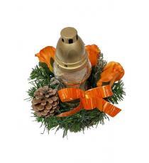 Věnec se svíčkou na dušičky - oranžová