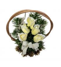 Květinový košík střední velikosti, krémová