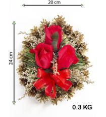 Smuteční květina ve tvaru srdce, malá, červená