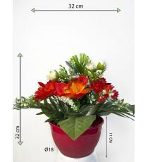 Dekorativní miska s umělou růží a orchidejí, oranžová, 32 cm