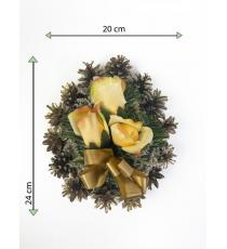 Smuteční květina ve tvaru srdce, malá, oranžovo/zlatá